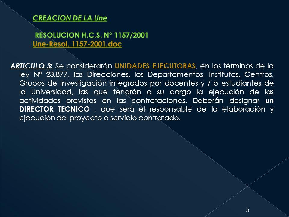CREACION DE LA Une RESOLUCION H. C. S. N° 1157/2001 Une-Resol