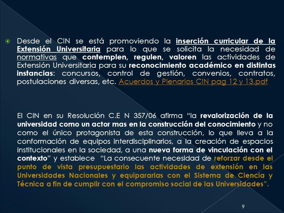 Desde el CIN se está promoviendo la inserción curricular de la Extensión Universitaria para lo que se solicita la necesidad de normativas que contemplen, regulen, valoren las actividades de Extensión Universitaria para su reconocimiento académico en distintas instancias: concursos, control de gestión, convenios, contratos, postulaciones diversas, etc. Acuerdos y Plenarios CIN pag 12 y 13.pdf