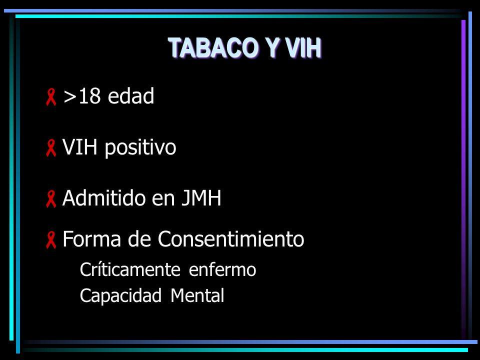 TABACO Y VIH >18 edad VIH positivo Admitido en JMH