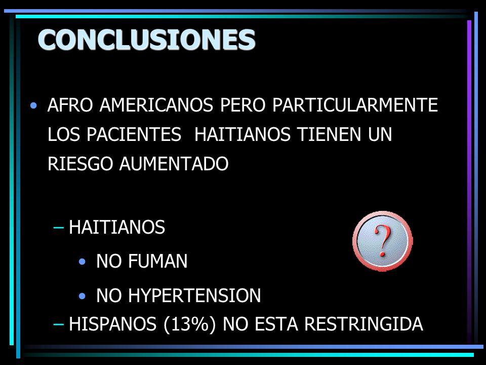 CONCLUSIONESAFRO AMERICANOS PERO PARTICULARMENTE LOS PACIENTES HAITIANOS TIENEN UN RIESGO AUMENTADO.