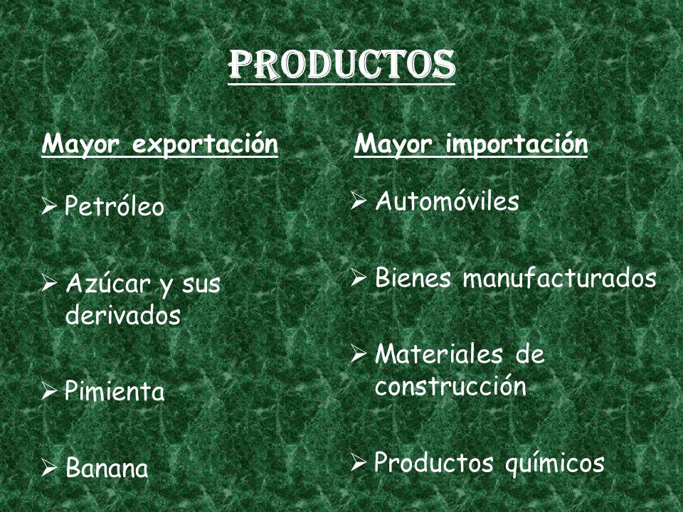 Productos Mayor exportación Mayor importación Automóviles