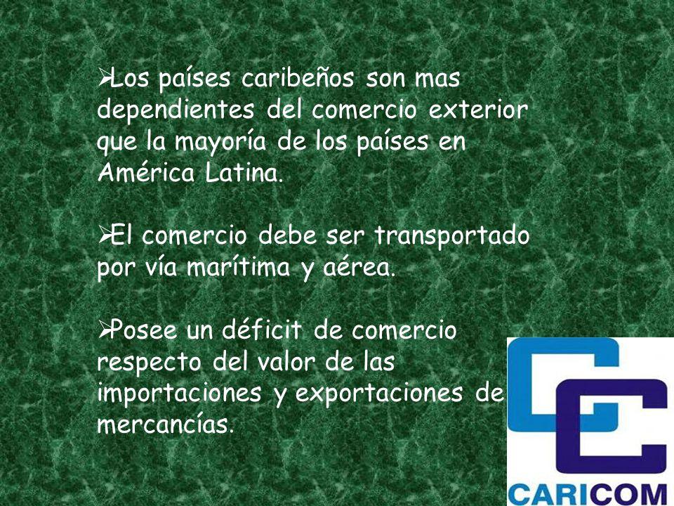 Los países caribeños son mas dependientes del comercio exterior que la mayoría de los países en América Latina.