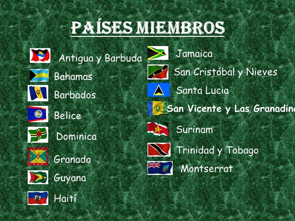 Países miembros Jamaica Antigua y Barbuda San Cristóbal y Nieves