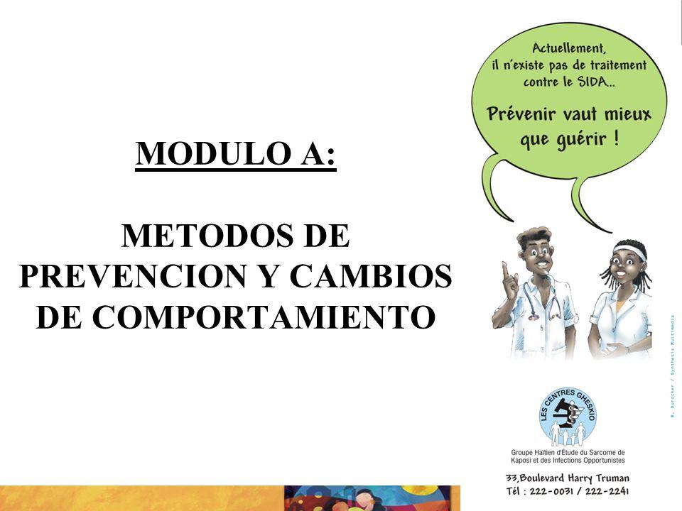 MODULO A: METODOS DE PREVENCION Y CAMBIOS DE COMPORTAMIENTO