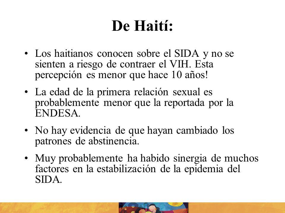 De Haití:Los haitianos conocen sobre el SIDA y no se sienten a riesgo de contraer el VIH. Esta percepción es menor que hace 10 años!