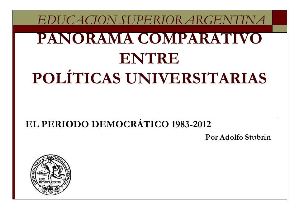 EL PERIODO DEMOCRÁTICO 1983-2012 Por Adolfo Stubrin
