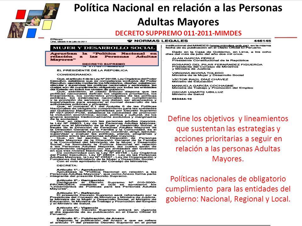Política Nacional en relación a las Personas Adultas Mayores DECRETO SUPPREMO 011-2011-MIMDES