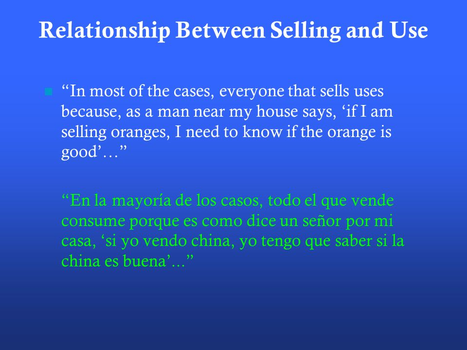 Relationship Between Selling and Use