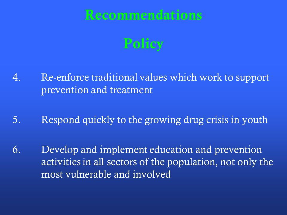 Recommendations Policy