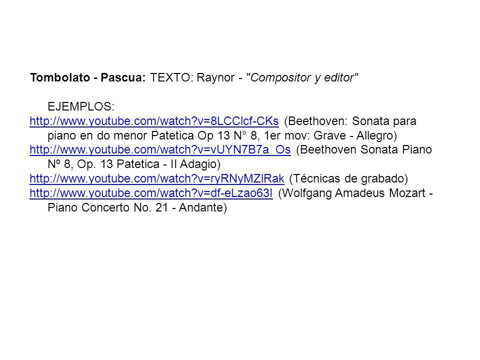 Tombolato - Pascua: TEXTO: Raynor - Compositor y editor