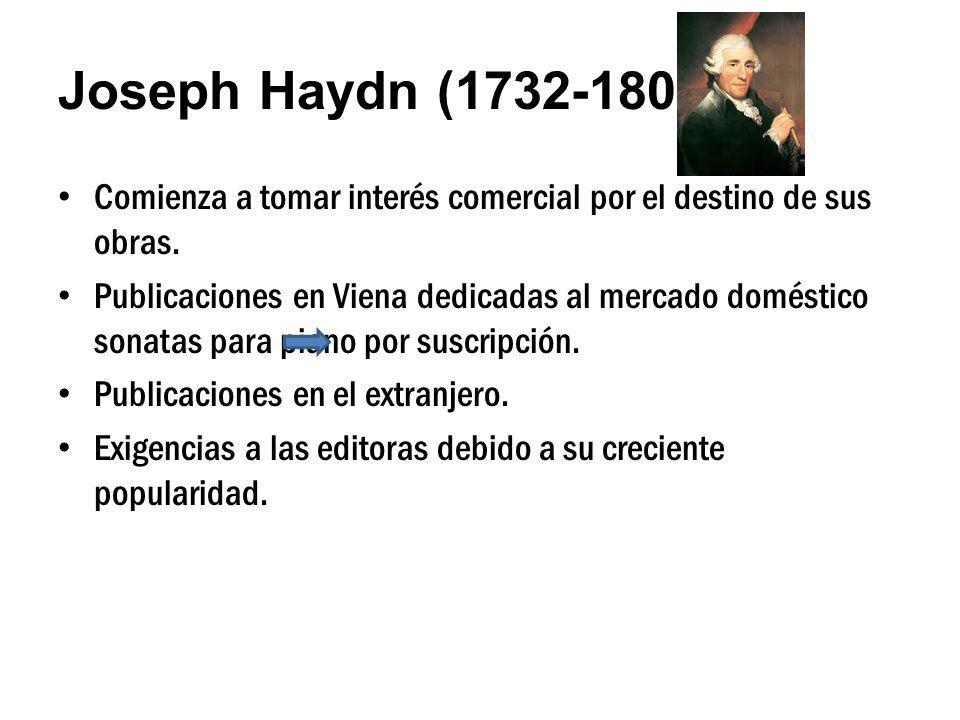 Joseph Haydn (1732-1809) Comienza a tomar interés comercial por el destino de sus obras.