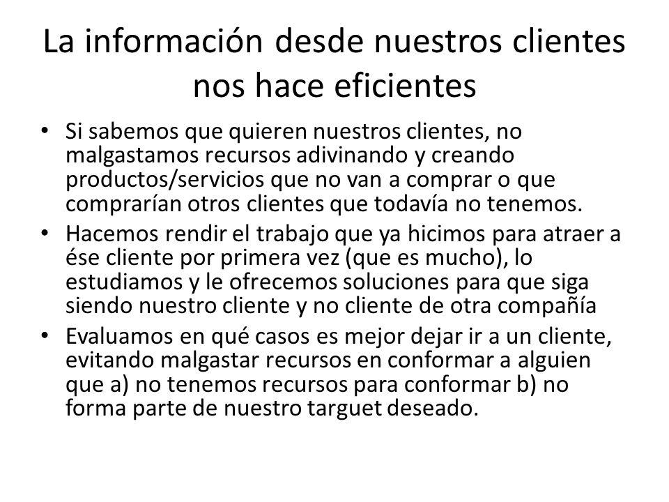 La información desde nuestros clientes nos hace eficientes