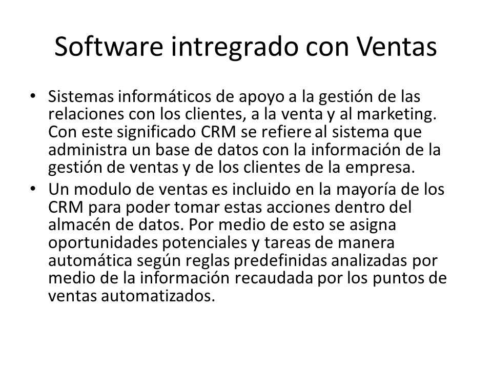 Software intregrado con Ventas