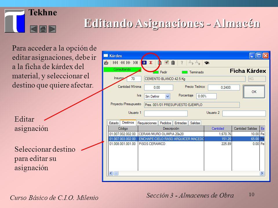Editando Asignaciones - Almacén