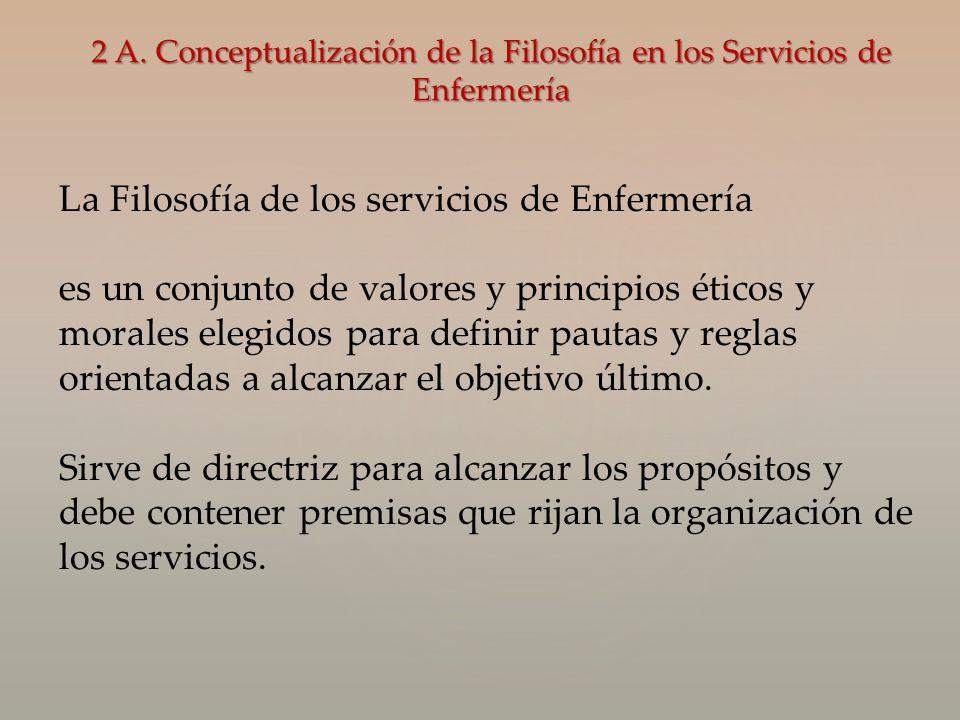 2 A. Conceptualización de la Filosofía en los Servicios de Enfermería