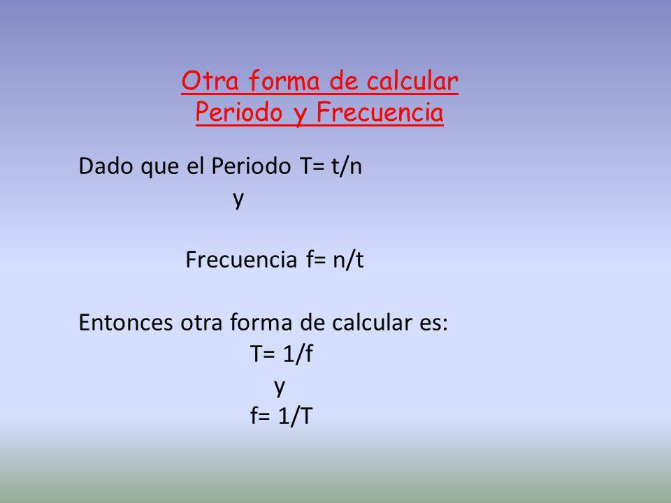 Otra forma de calcular Periodo y Frecuencia. Dado que el Periodo T= t/n. y. Frecuencia f= n/t. Entonces otra forma de calcular es: