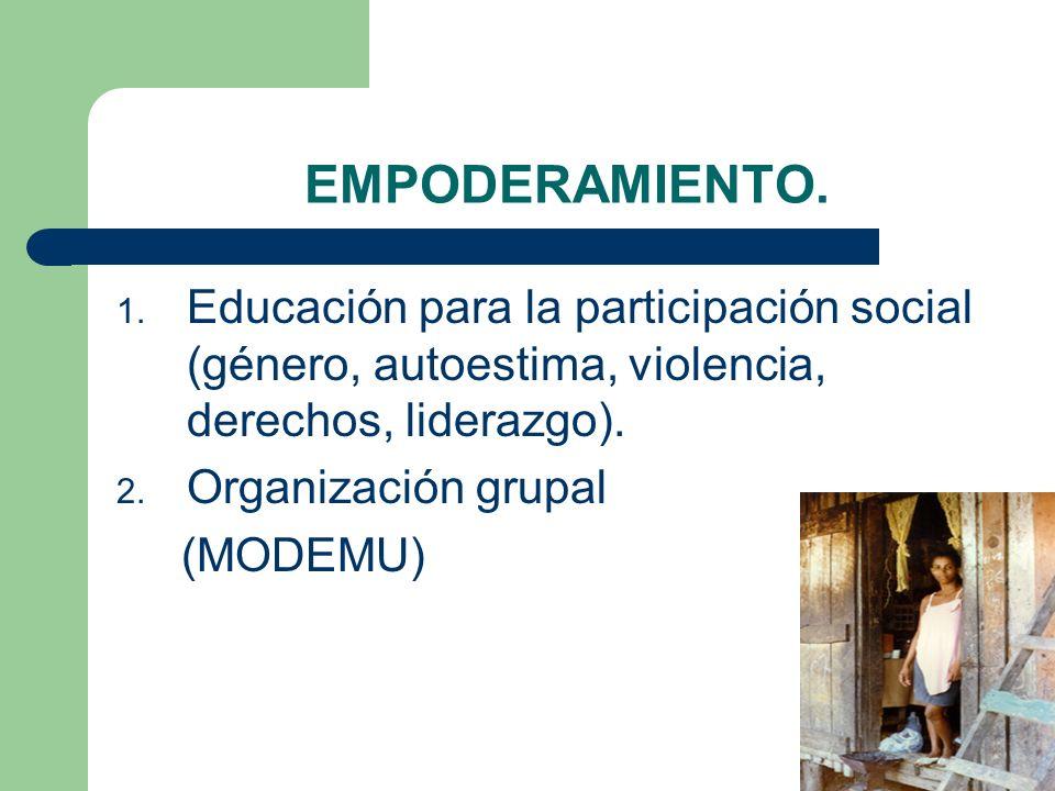 EMPODERAMIENTO. Educación para la participación social (género, autoestima, violencia, derechos, liderazgo).