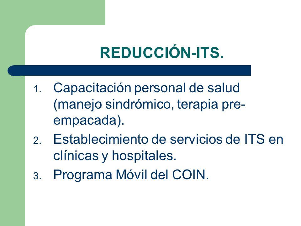 REDUCCIÓN-ITS. Capacitación personal de salud (manejo sindrómico, terapia pre-empacada).