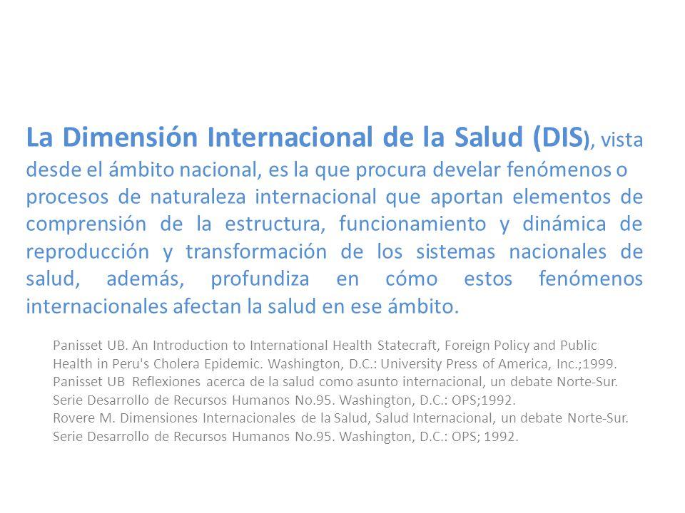 La Dimensión Internacional de la Salud (DIS), vista desde el ámbito nacional, es la que procura develar fenómenos o