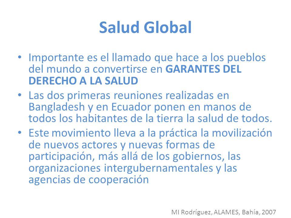 Salud Global Importante es el llamado que hace a los pueblos del mundo a convertirse en GARANTES DEL DERECHO A LA SALUD.