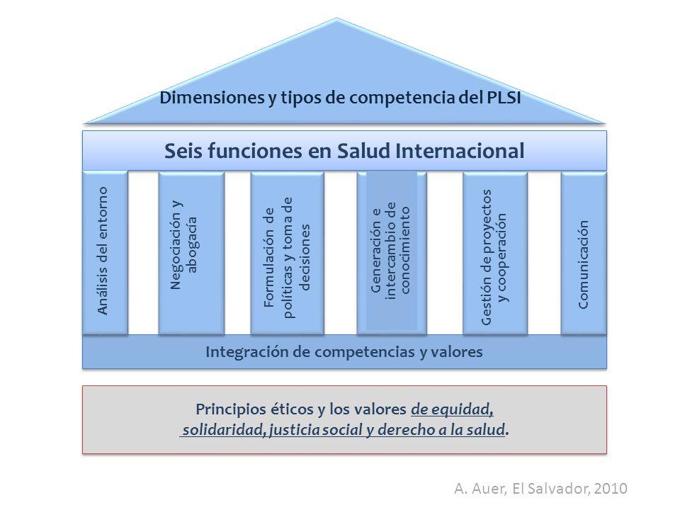 Seis funciones en Salud Internacional