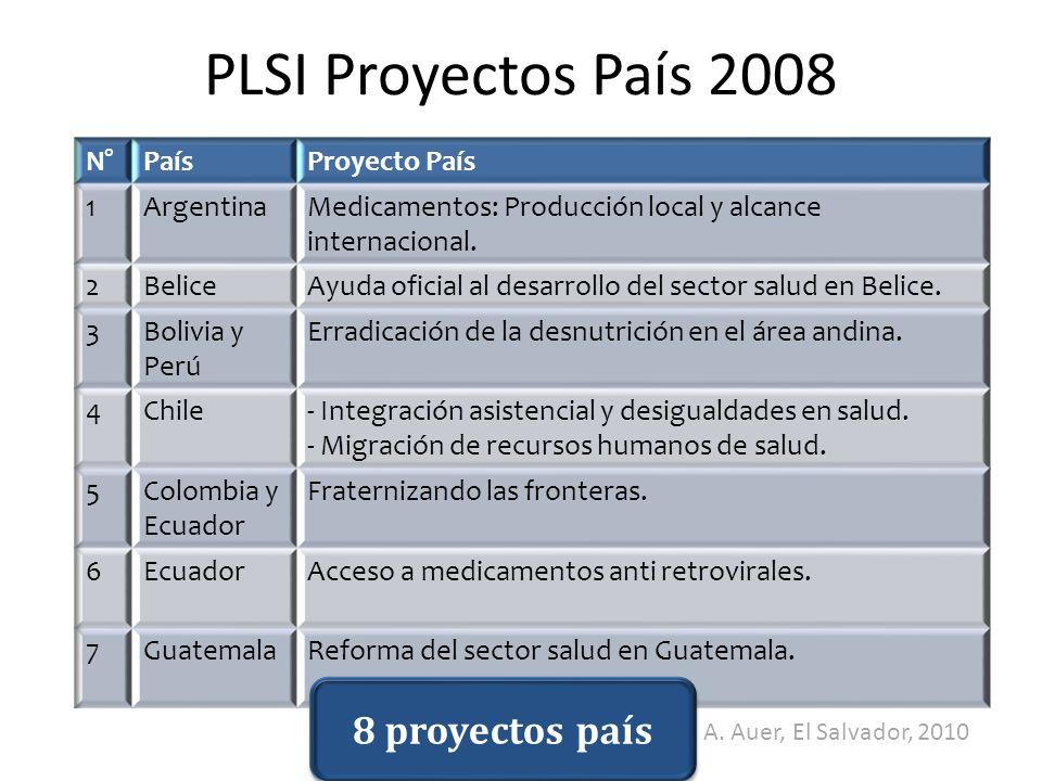 PLSI Proyectos País 2008 8 proyectos país N° País Proyecto País 1