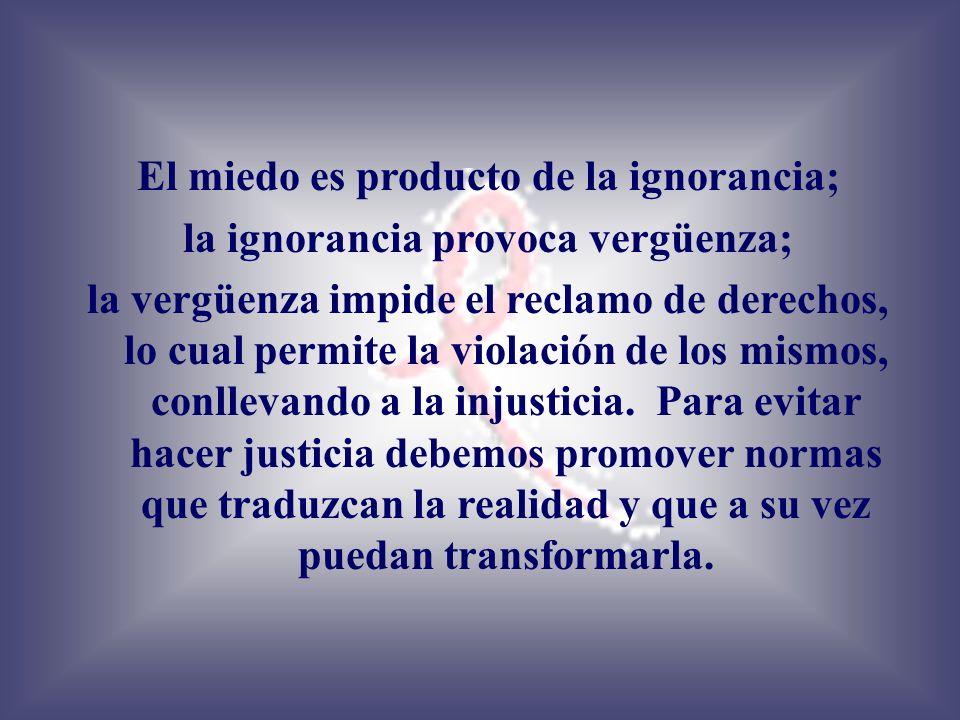 El miedo es producto de la ignorancia;