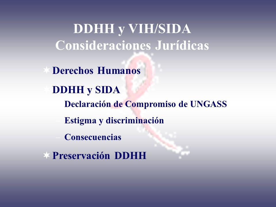 DDHH y VIH/SIDA Consideraciones Jurídicas