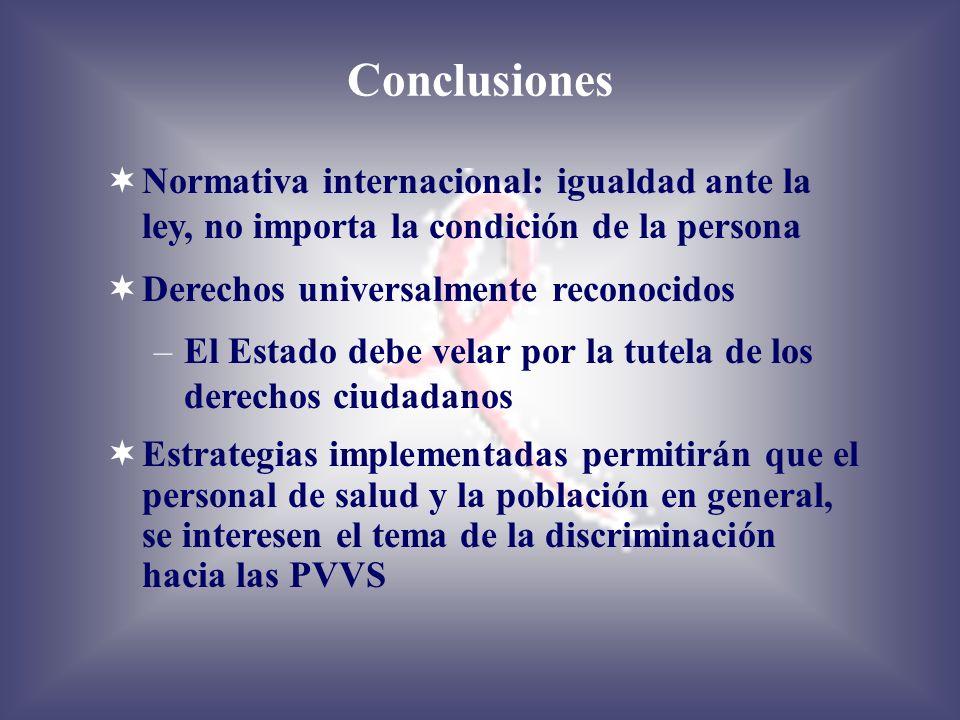 Conclusiones Normativa internacional: igualdad ante la ley, no importa la condición de la persona. Derechos universalmente reconocidos.