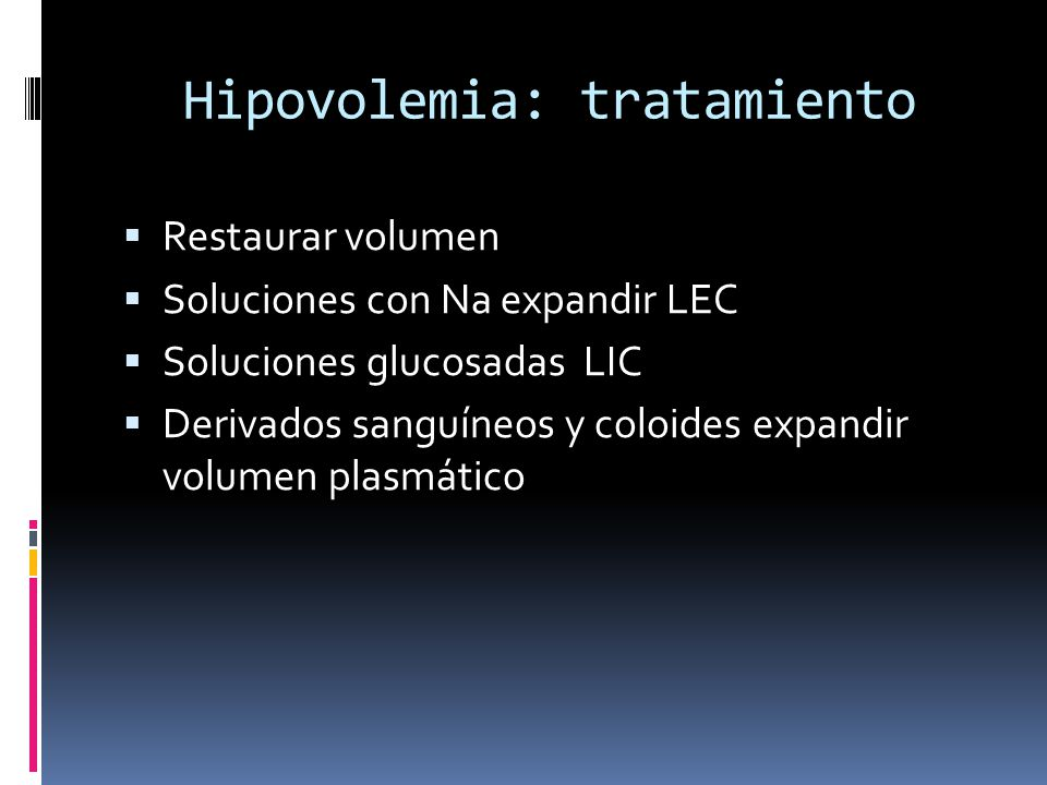 Hipovolemia: tratamiento