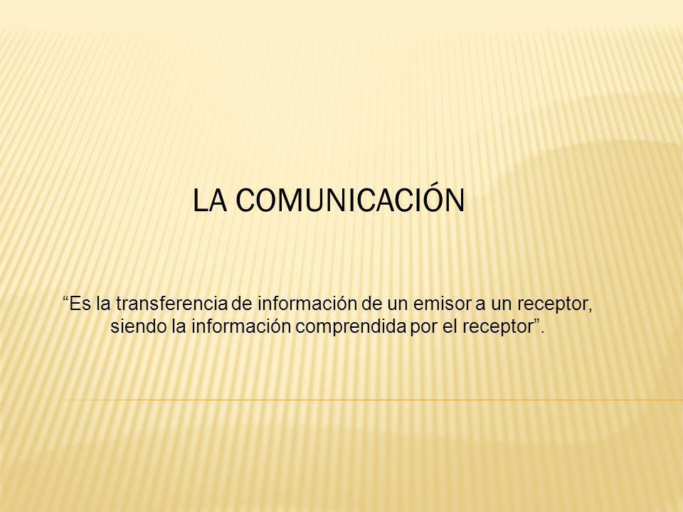 LA COMUNICACIÓN Es la transferencia de información de un emisor a un receptor, siendo la información comprendida por el receptor .
