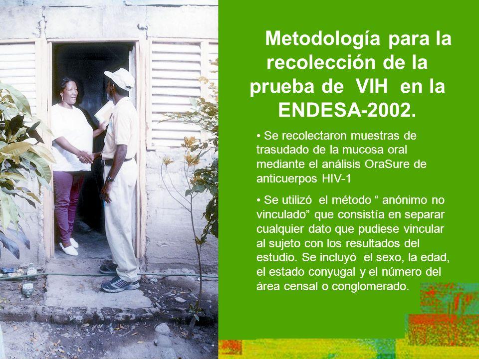 Metodología para la recolección de la prueba de VIH en la ENDESA-2002.