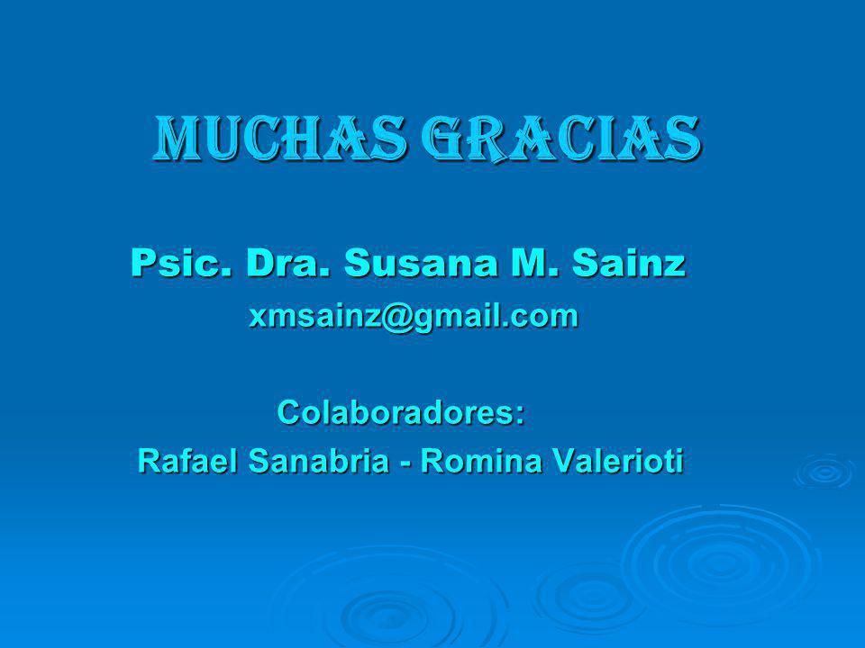 MUCHAS GRACIAS Psic. Dra. Susana M. Sainz xmsainz@gmail.com