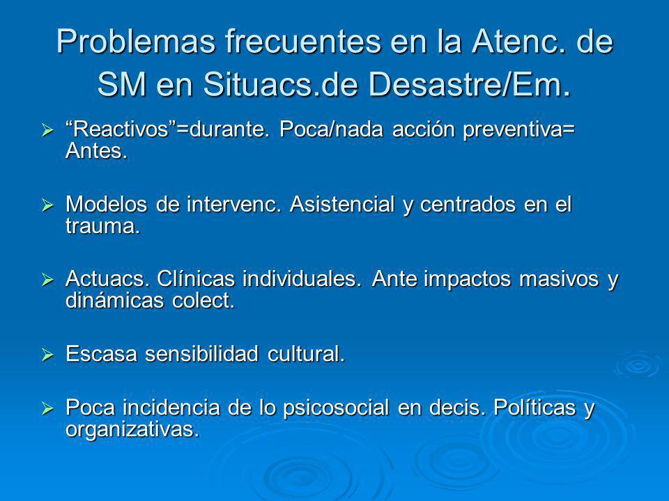 Problemas frecuentes en la Atenc. de SM en Situacs.de Desastre/Em.
