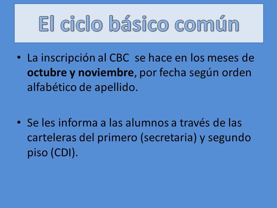 El ciclo básico común La inscripción al CBC se hace en los meses de octubre y noviembre, por fecha según orden alfabético de apellido.