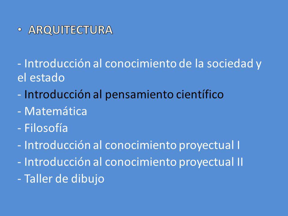 ARQUITECTURA - Introducción al conocimiento de la sociedad y el estado. - Introducción al pensamiento científico.