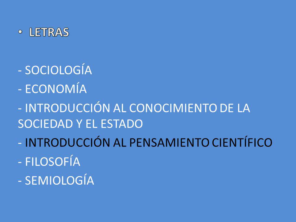 LETRAS - SOCIOLOGÍA. - ECONOMÍA. - INTRODUCCIÓN AL CONOCIMIENTO DE LA SOCIEDAD Y EL ESTADO. - INTRODUCCIÓN AL PENSAMIENTO CIENTÍFICO.