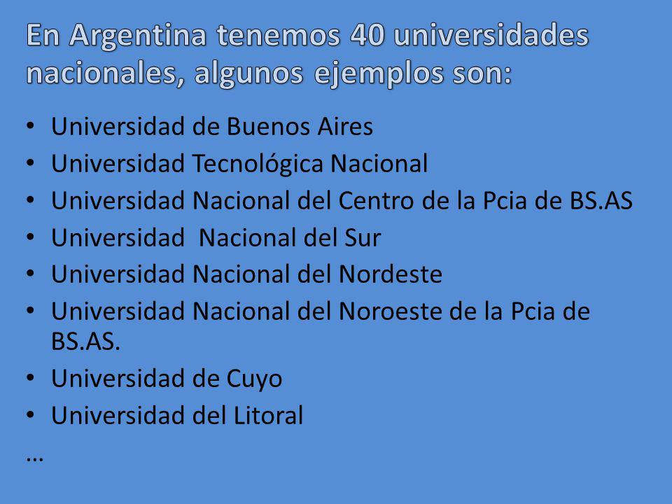 En Argentina tenemos 40 universidades nacionales, algunos ejemplos son:
