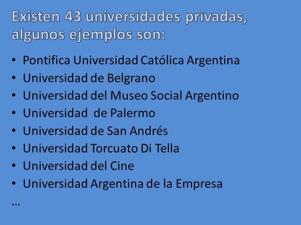 Existen 43 universidades privadas, algunos ejemplos son:
