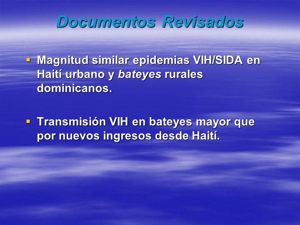Documentos Revisados Magnitud similar epidemias VIH/SIDA en Haití urbano y bateyes rurales dominicanos.