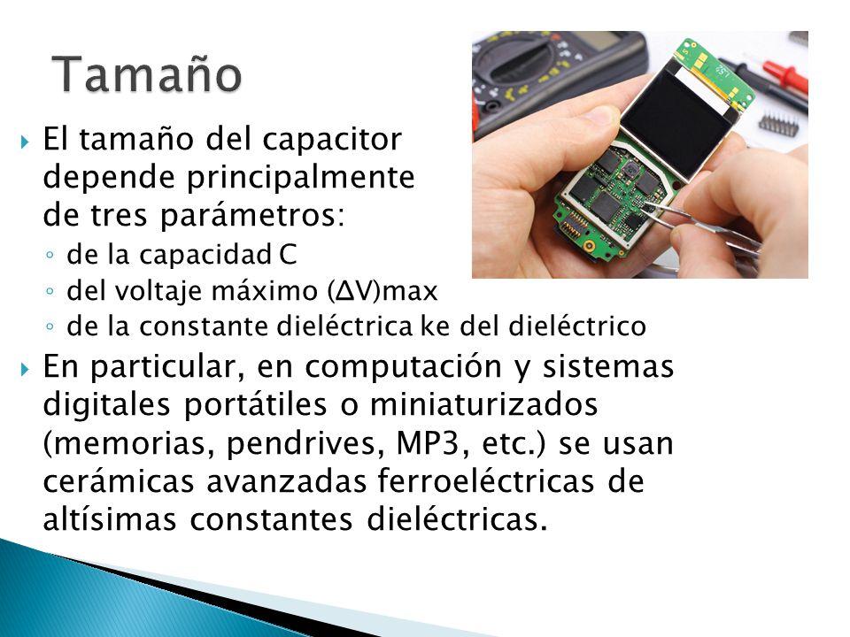 Tamaño El tamaño del capacitor depende principalmente de tres parámetros: de la capacidad C. del voltaje máximo (ΔV)max.