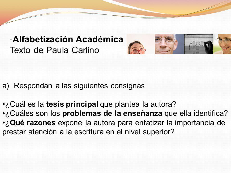 Alfabetización Académica Texto de Paula Carlino