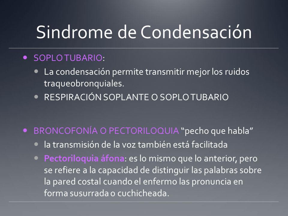 Sindrome de Condensación