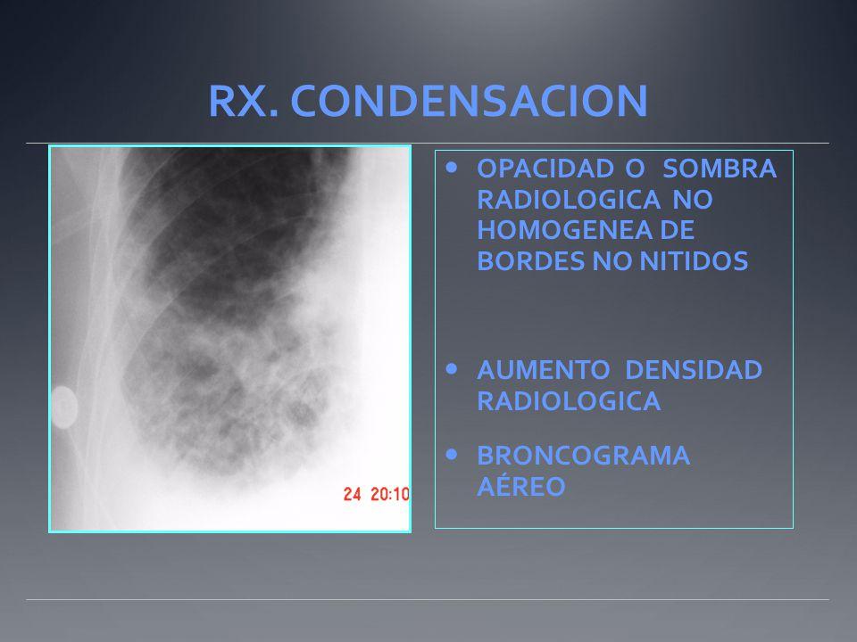 RX. CONDENSACION OPACIDAD O SOMBRA RADIOLOGICA NO HOMOGENEA DE BORDES NO NITIDOS. AUMENTO DENSIDAD RADIOLOGICA.