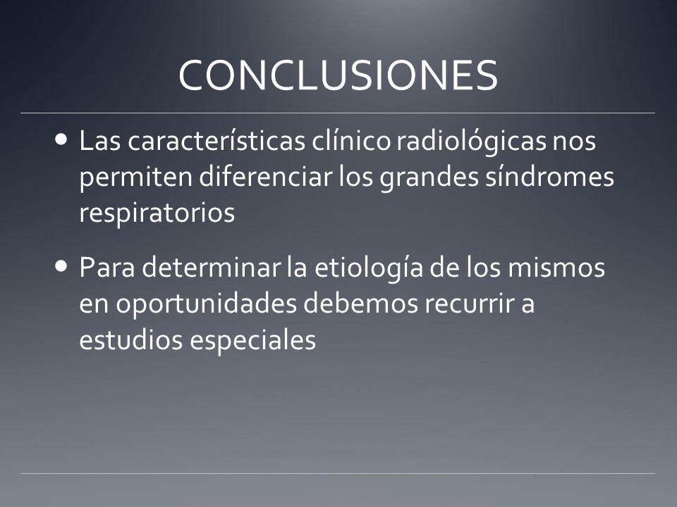 CONCLUSIONES Las características clínico radiológicas nos permiten diferenciar los grandes síndromes respiratorios.