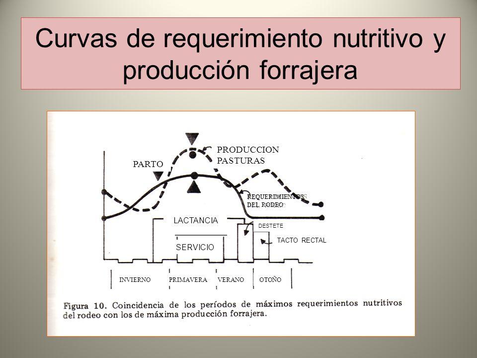 Curvas de requerimiento nutritivo y producción forrajera