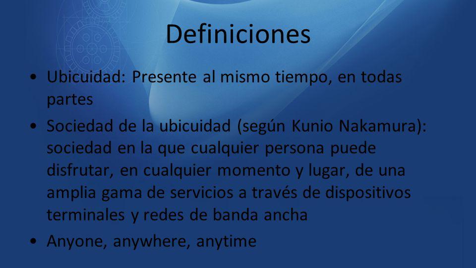 Definiciones Ubicuidad: Presente al mismo tiempo, en todas partes
