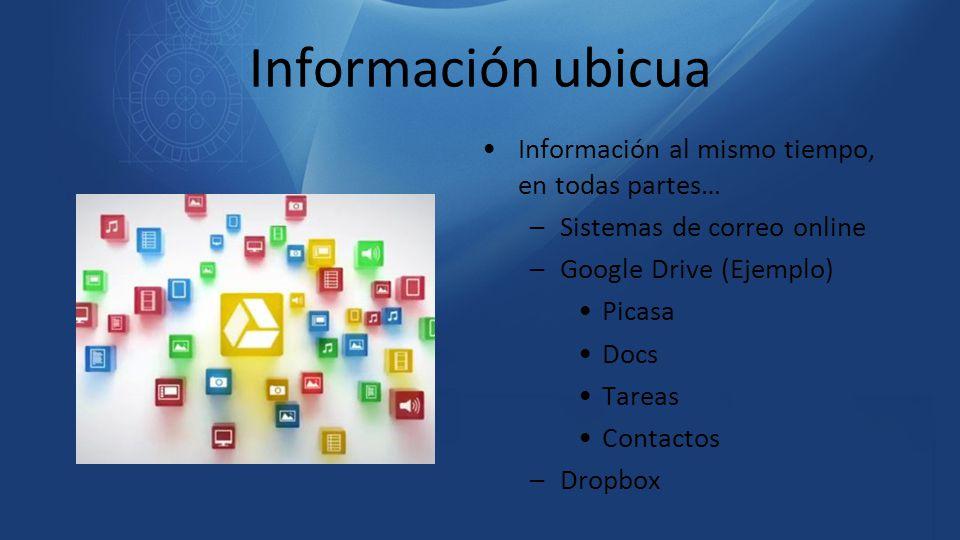 Información ubicua Información al mismo tiempo, en todas partes…