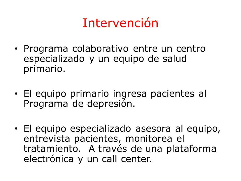 Intervención Programa colaborativo entre un centro especializado y un equipo de salud primario.