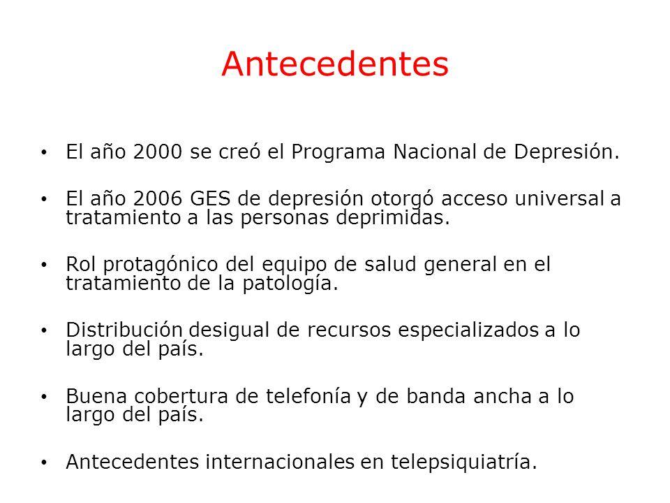 Antecedentes El año 2000 se creó el Programa Nacional de Depresión.